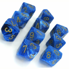 Blue & Gold Vortex D10 Ten Sided Dice Set